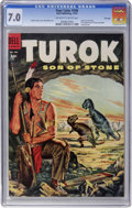 Golden Age (1938-1955):Miscellaneous, Four Color #596 Turok, Son of Stone - File Copy (Dell, 1954) CGC FN/VF 7.0 Off-white to white pages....