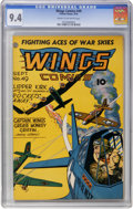 Golden Age (1938-1955):War, Wings Comics #49 (Fiction House, 1944) CGC NM 9.4 Cream to off-white pages....