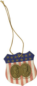 """Political:Small Paper (1896-present), Rare McKinley & Roosevelt Jugate Paper Shield, 2"""" x 2"""" with a3.5"""" string hanger. Embossed liknesses of William McKinley and..."""