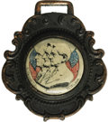 "Political:Miscellaneous Political, Washington, Lincoln, Wilson Watch Fob, 1.75"" x 1.75"". An insetshows profiles of the three presidents flanked by American fl..."