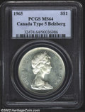 Canada, 1965 1 Dollar Type 5 MS64 PCGS. MS64 ICCS. Frosty white ...