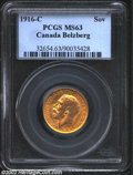 1916-C Gold Sovereign (Pound) MS63 PCGS. Soft luster with deep orange patina and a few small marks in the obverse fields...