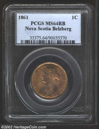 Nova Scotia, 1861 1 Cent Large Rosebud MS64 Red and Brown PCGS. Similar to the preceding lot with perhaps a tad more min...