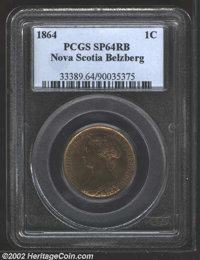 Nova Scotia, 1864 1 Cent SPECIMEN 64 Red and Brown PCGS. Iridescent, nearly full red surfaces with noticeable reflectivi...