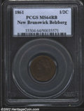 Canada:New Brunswick, New Brunswick, 1861 Half Cent MS64 Red and Brown PCGS. ...