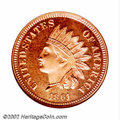 Proof Indian Cents: , 1861 1C PR65 NGC. The first of two exquisite proof 1861 ...