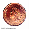 Proof Indian Cents: , 1870 1C PR65 Red PCGS. Type One Reverse. The shallow N in ...