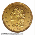 Classic Quarter Eagles: , 1839-C $2 1/2 MS61 NGC. Recut Date. Winter 3-C. Extensive ...