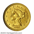 Liberty Quarter Eagles: , 1840-O $2 1/2 MS62 NGC. The 1840-O is a very scarce issue ...