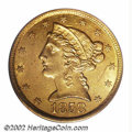 Liberty Half Eagles: , 1858-C $5 MS61 PCGS. Winter 26-K. The 1858-C is one of ...