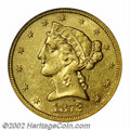 1872-CC $5 AU55 NGC. Winter 1-A. The 1872-CC is a very rare issue even though 16,980 pieces were produced. Only 70-80 ex...