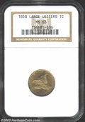 1858 1C Large Letters MS63 NGC. Fully lustrous with no singularly mentionable marks. Some weakness of strike on the eagl...