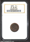 Proof Indian Cents: , 1870 1C PR65 Red and Brown NGC. Dappled orange and rose-...