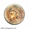 Proof Indian Cents: , 1871 1C PR65 Red PCGS. This is a fully original Gem whose ...