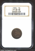 Proof Indian Cents: , 1876 1C PR65 Red and Brown NGC. Dappled steel-blue and ...
