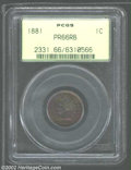 Proof Indian Cents: , 1881 1C PR66 Red and Brown PCGS. The ruby-red, electric-...