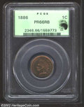 Proof Indian Cents: , 1886 1C Type One PR66 Red and Brown PCGS. Blushes of ...