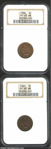 Proof Indian Cents: , 1896 1C PR65 Brown NGC; and an 1897 PR65 Brown NGC. ...