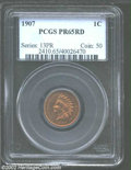 Proof Indian Cents: , 1907 1C PR65 Red PCGS. Bright gold color, with a small ...
