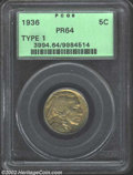 Proof Buffalo Nickels: , 1936 5C Type One--Satin Finish PR64 PCGS. Formerly ...