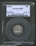 Bust Dimes: , 1824/2 10C AU50 PCGS. JR-1, R.3. Light lilac-gray patina, ...