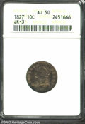 Bust Dimes: , 1827 10C AU50 ANACS. JR-3, R.1. The rich orange and ...
