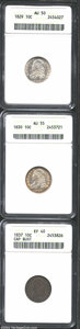 Bust Dimes: , 1829 10C Medium 10C AU50 ANACS, JR-12, R.3, brilliant and ...