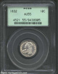 Bust Dimes: , 1832 10C AU55 PCGS. JR-4, R.3. The 8 in the date leans ...