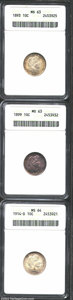 1893 10C MS63 ANACS, well struck with good luster quality for the grade and golden-orange obverse tinting that yields to...