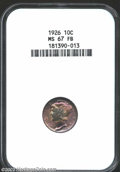Mercury Dimes: , 1926 10C MS67 Full Bands NGC. Beautifully toned in mostly ...