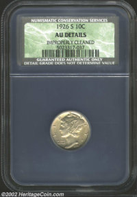 1926-S 10C AU Details, Improperly Cleaned, NCS. The surfaces display pleasant light-olive color, and there are only a fe...