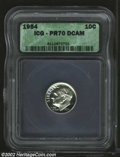 Proof Roosevelt Dimes: , 1954 10C PR70 Deep Cameo ICG. An interesting example with ...