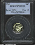 Proof Roosevelt Dimes: , 1961 10C PR70 Deep Cameo PCGS. Brilliant throughout with ...
