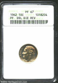 Proof Roosevelt Dimes: , 1962 10C--Doubled Die Reverse--PR67 ANACS. The speckled ...