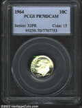 Proof Roosevelt Dimes: , 1964 10C PR70 Deep Cameo PCGS. A well balanced coin with ...