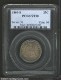 Seated Quarters: , 1866-S 25C VF30 PCGS. A total mintage of 28,000 ...