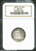 Seated Quarters: , 1876-CC 25C MS61 NGC. Displaying slightly subdued Mint ...