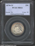 Seated Quarters: , 1878-CC 25C MS61 PCGS. Center of coin is weakly struck ...