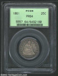 Proof Seated Quarters: , 1861 25C PR64 PCGS. Each side has rich lavender patina. A ...