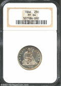 Proof Seated Quarters: , 1866 25C PR64 NGC. Lightly frosted devices rest gently on ...