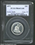 Proof Seated Quarters: , 1875 25C PR64 Cameo PCGS. A brilliant and well struck ...