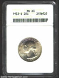 Washington Quarters: , 1932-S 25C MS63 ANACS. Lustrous and sharply struck with ...