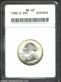 Washington Quarters: , 1932-S 25C MS63 ANACS. Bright, frosted mint luster with ...