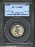 Washington Quarters: , 1934 25C MS67 PCGS. This is perhaps one of the finest ...
