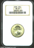 Washington Quarters: , 1935 25C MS67 NGC. With the slightest whisper of patina ...