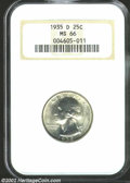 Washington Quarters: , 1935-D 25C MS66 NGC. A difficult Denver Mint issue, this ...