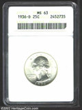 Washington Quarters: , 1936-D 25C MS63 ANACS. Clean surfaces with smooth, satiny ...
