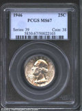 Washington Quarters: , 1946 25C MS67 PCGS. The variegated sprinkles of sea-green,...