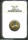 Washington Quarters: , 1948-D 25C MS67 NGC. This coin is in as high a grade as ...