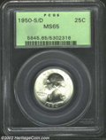 Washington Quarters: , 1950-S/D 25C MS65 PCGS. Nary a trace of color is noted on ...